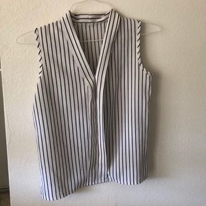 Black White striped summer sleeves tank size small